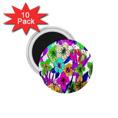Floral Colorful Background Of Hand Drawn Flowers 1 75  Magnets (10 Pack)