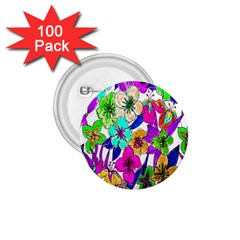 Floral Colorful Background Of Hand Drawn Flowers 1 75  Buttons (100 Pack)