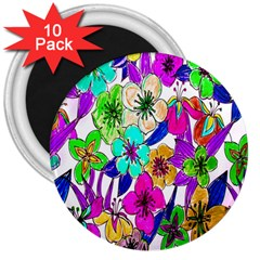 Floral Colorful Background Of Hand Drawn Flowers 3  Magnets (10 Pack)