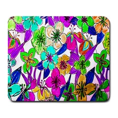 Floral Colorful Background Of Hand Drawn Flowers Large Mousepads