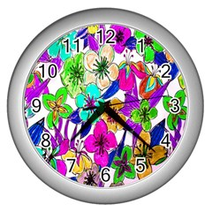 Floral Colorful Background Of Hand Drawn Flowers Wall Clocks (silver)  by Simbadda