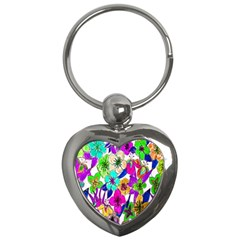 Floral Colorful Background Of Hand Drawn Flowers Key Chains (heart)  by Simbadda