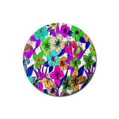 Floral Colorful Background Of Hand Drawn Flowers Rubber Round Coaster (4 Pack)