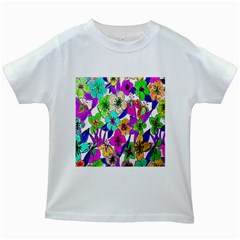 Floral Colorful Background Of Hand Drawn Flowers Kids White T Shirts by Simbadda