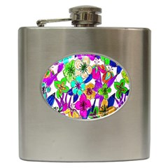 Floral Colorful Background Of Hand Drawn Flowers Hip Flask (6 Oz) by Simbadda