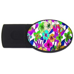 Floral Colorful Background Of Hand Drawn Flowers Usb Flash Drive Oval (2 Gb)
