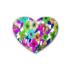 Floral Colorful Background Of Hand Drawn Flowers Rubber Coaster (heart)