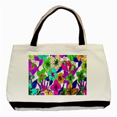 Floral Colorful Background Of Hand Drawn Flowers Basic Tote Bag (two Sides)
