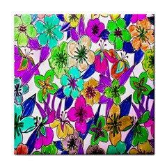 Floral Colorful Background Of Hand Drawn Flowers Face Towel by Simbadda