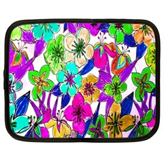 Floral Colorful Background Of Hand Drawn Flowers Netbook Case (xxl)  by Simbadda