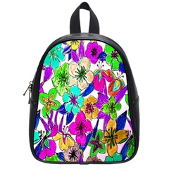 Floral Colorful Background Of Hand Drawn Flowers School Bags (small)
