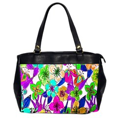 Floral Colorful Background Of Hand Drawn Flowers Office Handbags (2 Sides)