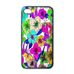 Floral Colorful Background Of Hand Drawn Flowers Apple Iphone 4 Case (black)