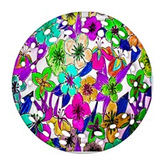 Floral Colorful Background Of Hand Drawn Flowers Ornament (round Filigree) by Simbadda