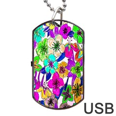 Floral Colorful Background Of Hand Drawn Flowers Dog Tag Usb Flash (two Sides) by Simbadda