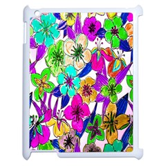 Floral Colorful Background Of Hand Drawn Flowers Apple Ipad 2 Case (white) by Simbadda