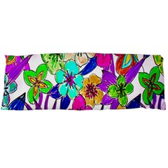 Floral Colorful Background Of Hand Drawn Flowers Body Pillow Case Dakimakura (two Sides) by Simbadda