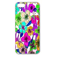 Floral Colorful Background Of Hand Drawn Flowers Apple Seamless Iphone 5 Case (clear) by Simbadda
