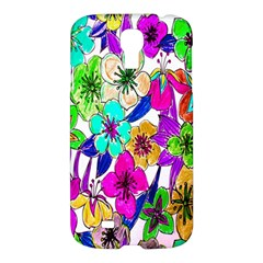 Floral Colorful Background Of Hand Drawn Flowers Samsung Galaxy S4 I9500/i9505 Hardshell Case by Simbadda