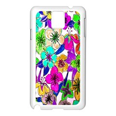 Floral Colorful Background Of Hand Drawn Flowers Samsung Galaxy Note 3 N9005 Case (white) by Simbadda