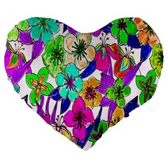Floral Colorful Background Of Hand Drawn Flowers Large 19  Premium Flano Heart Shape Cushions by Simbadda