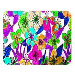 Floral Colorful Background Of Hand Drawn Flowers Double Sided Flano Blanket (large)  by Simbadda