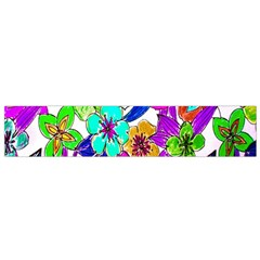 Floral Colorful Background Of Hand Drawn Flowers Flano Scarf (small) by Simbadda