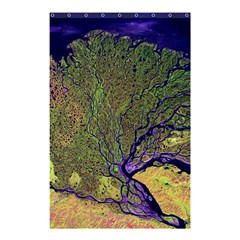 Lena River Delta A Photo Of A Colorful River Delta Taken From A Satellite Shower Curtain 48  X 72  (small)  by Simbadda