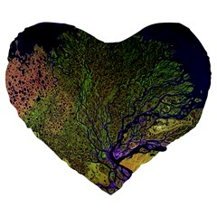 Lena River Delta A Photo Of A Colorful River Delta Taken From A Satellite Large 19  Premium Flano Heart Shape Cushions by Simbadda