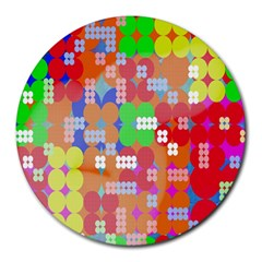 Abstract Polka Dot Pattern Digitally Created Abstract Background Pattern With An Urban Feel Round Mousepads by Simbadda