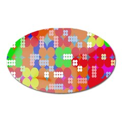 Abstract Polka Dot Pattern Digitally Created Abstract Background Pattern With An Urban Feel Oval Magnet by Simbadda