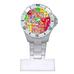 Abstract Polka Dot Pattern Digitally Created Abstract Background Pattern With An Urban Feel Plastic Nurses Watch by Simbadda
