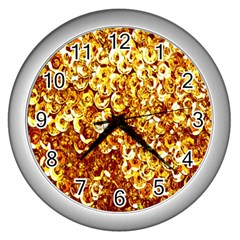 Yellow Abstract Background Wall Clocks (silver)