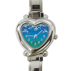 Floral 2d Illustration Background Heart Italian Charm Watch by Simbadda