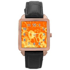 Retro Orange Circle Background Abstract Rose Gold Leather Watch  by Nexatart