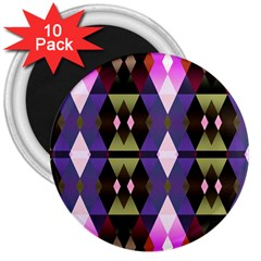 Geometric Abstract Background Art 3  Magnets (10 Pack)  by Nexatart