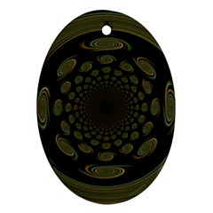 Dark Portal Fractal Esque Background Oval Ornament (two Sides) by Nexatart