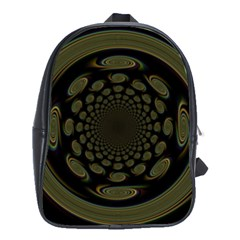Dark Portal Fractal Esque Background School Bags(large)  by Nexatart