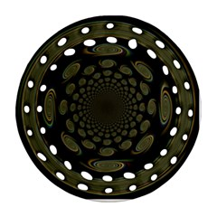 Dark Portal Fractal Esque Background Round Filigree Ornament (two Sides) by Nexatart