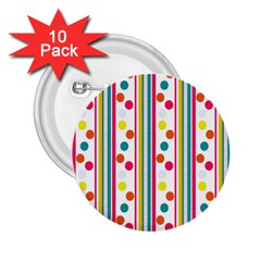Stripes And Polka Dots Colorful Pattern Wallpaper Background 2 25  Buttons (10 Pack)  by Nexatart