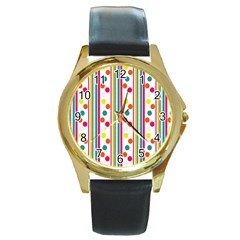 Stripes And Polka Dots Colorful Pattern Wallpaper Background Round Gold Metal Watch by Nexatart