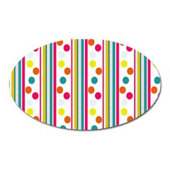 Stripes And Polka Dots Colorful Pattern Wallpaper Background Oval Magnet by Nexatart