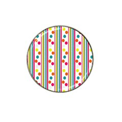 Stripes And Polka Dots Colorful Pattern Wallpaper Background Hat Clip Ball Marker (4 Pack) by Nexatart