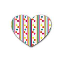 Stripes And Polka Dots Colorful Pattern Wallpaper Background Heart Coaster (4 Pack)  by Nexatart
