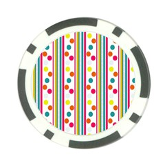 Stripes And Polka Dots Colorful Pattern Wallpaper Background Poker Chip Card Guard (10 Pack) by Nexatart