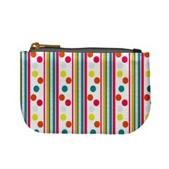 Stripes And Polka Dots Colorful Pattern Wallpaper Background Mini Coin Purses by Nexatart