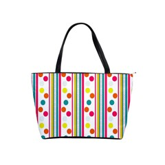 Stripes And Polka Dots Colorful Pattern Wallpaper Background Shoulder Handbags