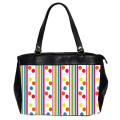 Stripes And Polka Dots Colorful Pattern Wallpaper Background Office Handbags (2 Sides)  by Nexatart