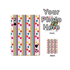 Stripes And Polka Dots Colorful Pattern Wallpaper Background Playing Cards 54 (mini)  by Nexatart