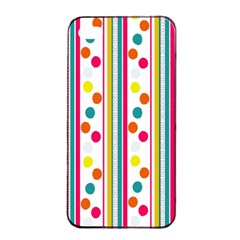 Stripes And Polka Dots Colorful Pattern Wallpaper Background Apple Iphone 4/4s Seamless Case (black)